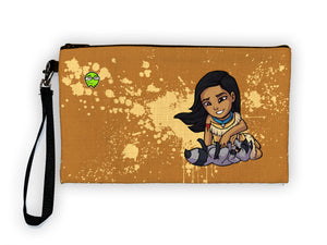"""Pocahontas"" Meents Illustrated Authentic Large Pencil/Device Bag"