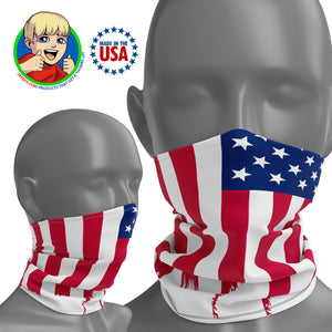 USA Ragged Flag - Face Mask Neck Gaiter - Face Cover