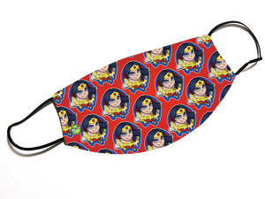 """Wonder Woman"" - Meents Illustrated Authentic Design Face Mask - JAXGFX"