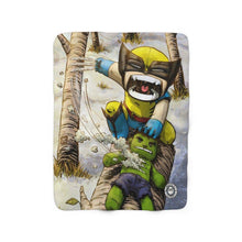 "Load image into Gallery viewer, ""Wolverine"" 50""x60"" - Meents Illustrated Authentic - Sherpa Fleece Blanket - JAXGFX"