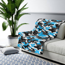 Load image into Gallery viewer, Camo - Light Blue - Sherpa Fleece Blanket - JAXGFX