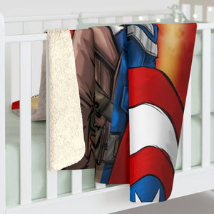 """CAP"" 50""x60"" - Meents Illustrated Authentic - Sherpa Fleece Blanket - JAXGFX"
