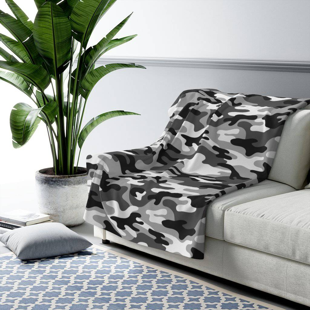 Camo - Black & White - Sherpa Fleece Blanket - JAXGFX