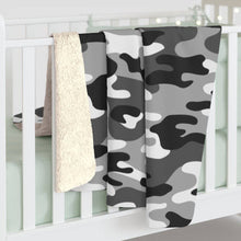 Load image into Gallery viewer, Camo - Black & White - Sherpa Fleece Blanket - JAXGFX