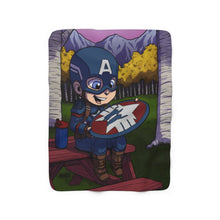 "Load image into Gallery viewer, ""Cap For Kids"" 50""x60"" - Meents Illustrated Authentic - Sherpa Fleece Blanket"