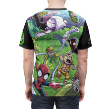 "Load image into Gallery viewer, ""Sinister 6 Playground"" - Meents Illustrated Authentic - Full Sublimated Cut & Sew Tee - JAXGFX"