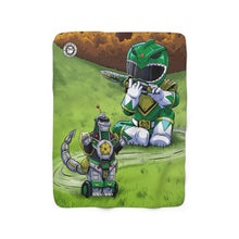 "Load image into Gallery viewer, ""Green Ranger"" 50""x60"" - Meents Illustrated Authentic - Sherpa Fleece Blanket - JAXGFX"