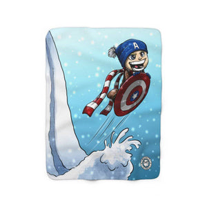 """Cap Sled"" 50""x60"" - Meents Illustrated Authentic - Sherpa Fleece Blanket - JAXGFX"