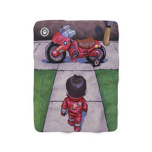 "Load image into Gallery viewer, ""Akira"" 50""x60"" - Meents Illustrated Authentic - Sherpa Fleece Blanket - JAXGFX"