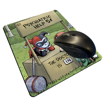 "Load image into Gallery viewer, ""Psychiatric Help"" Meents Illustrated Authentic Mouse Pad"