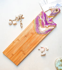 Geode long cheese board - purple