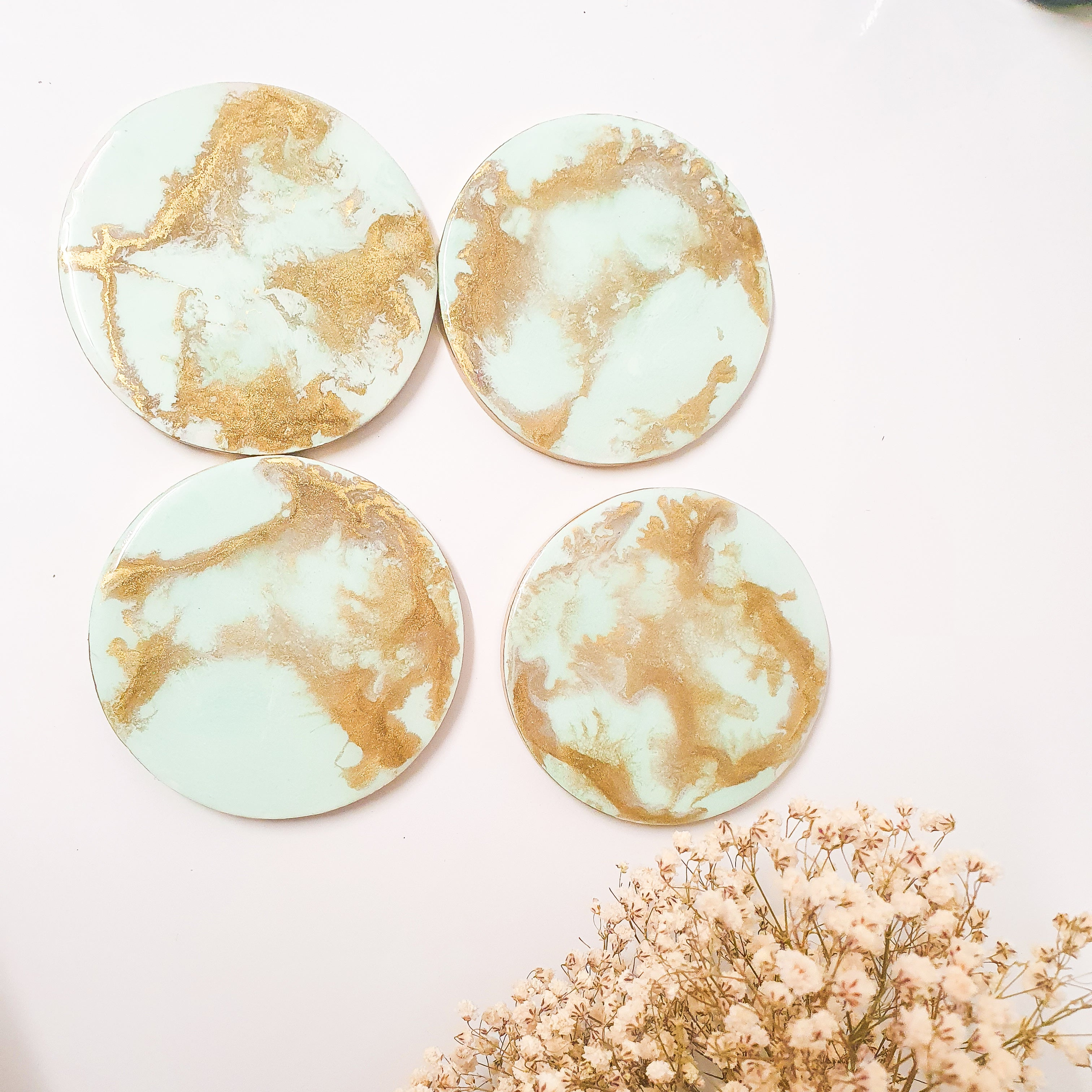 Tiffany and Gold drink coasters