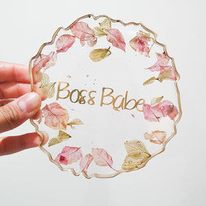 Boss Babe resin drink coasters