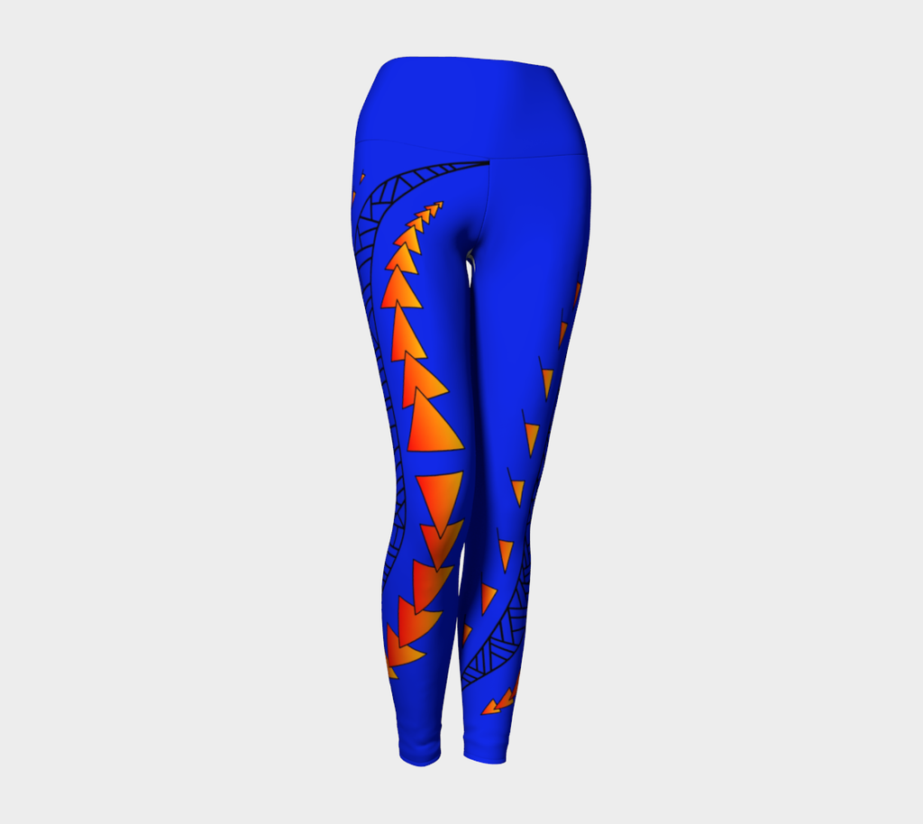 Compression Leggings XS-XL Blue Adult Kiama Waves Design by TINGS