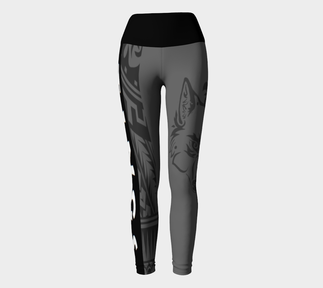 Compression Yoga Leggings XS-XL Grey & Black Tribal Wolf Design by TINGS