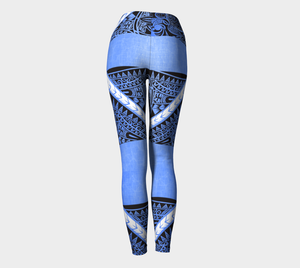 Compression Yoga Leggings XS-XL Blue Spirit Tribal by TINGS