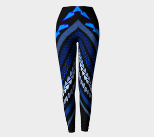 Compression Leggings XS-XL Blue & Black Full Waves of Sydney Design by TINGS