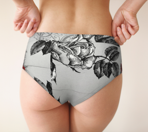Briefs XS-XL Grey & Red Roses Are Red Romantic Design by TINGS