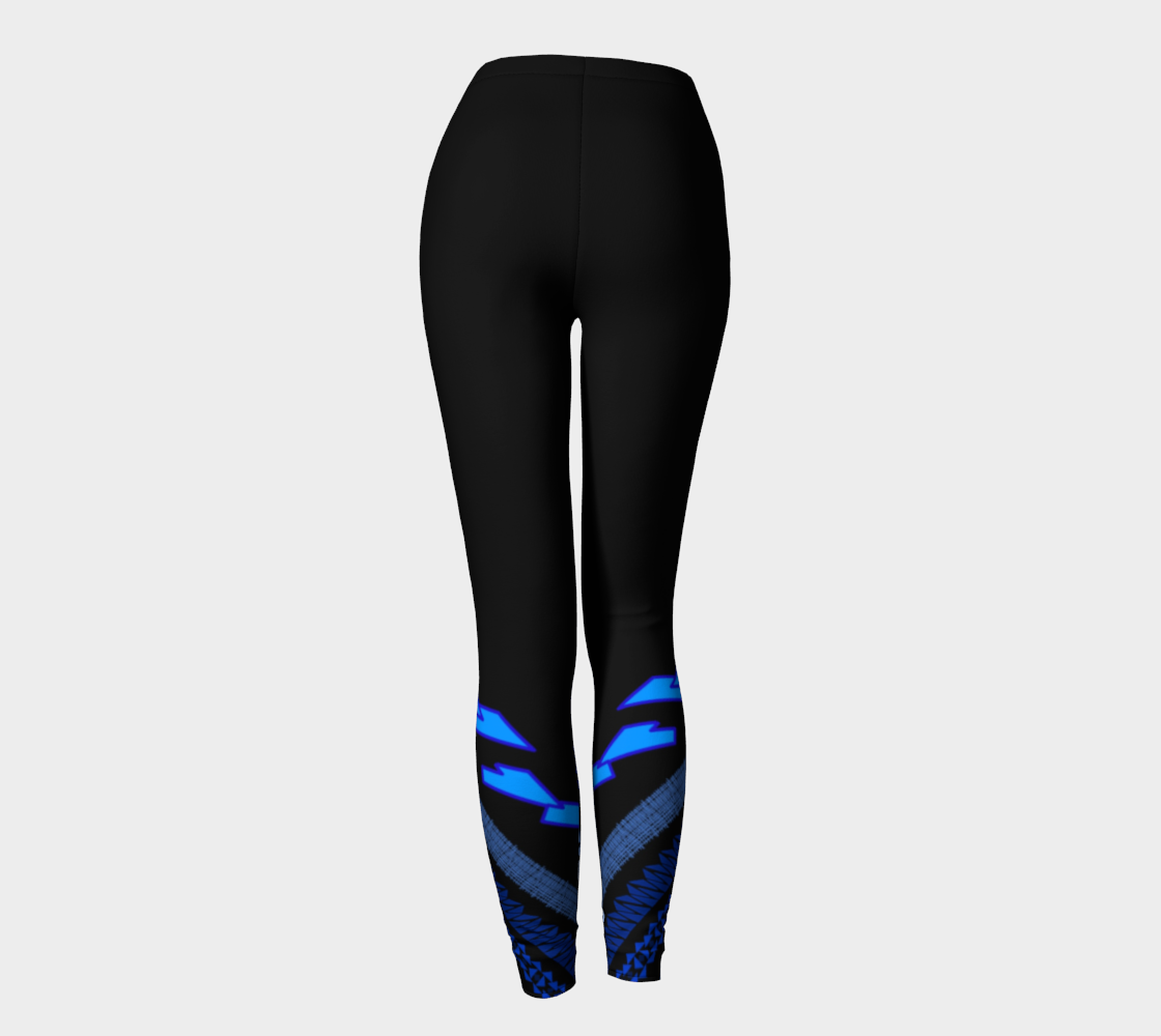 Compression Leggings XS-XL Black & Blue Waves of Sydney Design by TINGS