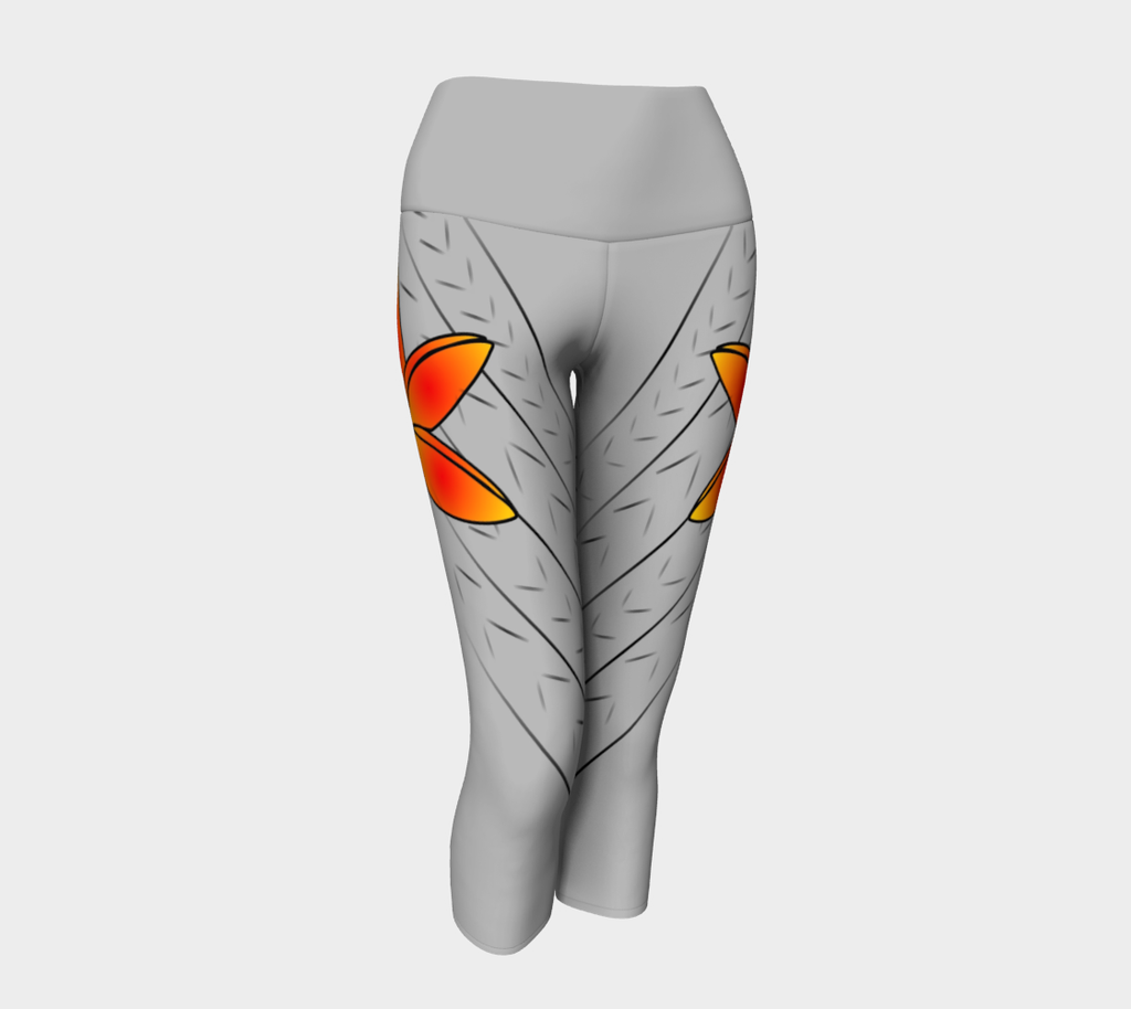 Adult Female XS-XL Designer Compression Capris Bright Flower Grey by TINGS