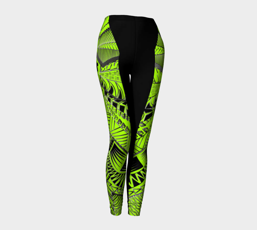 Compression Leggings XS-XL Green Tribal Design by TINGS
