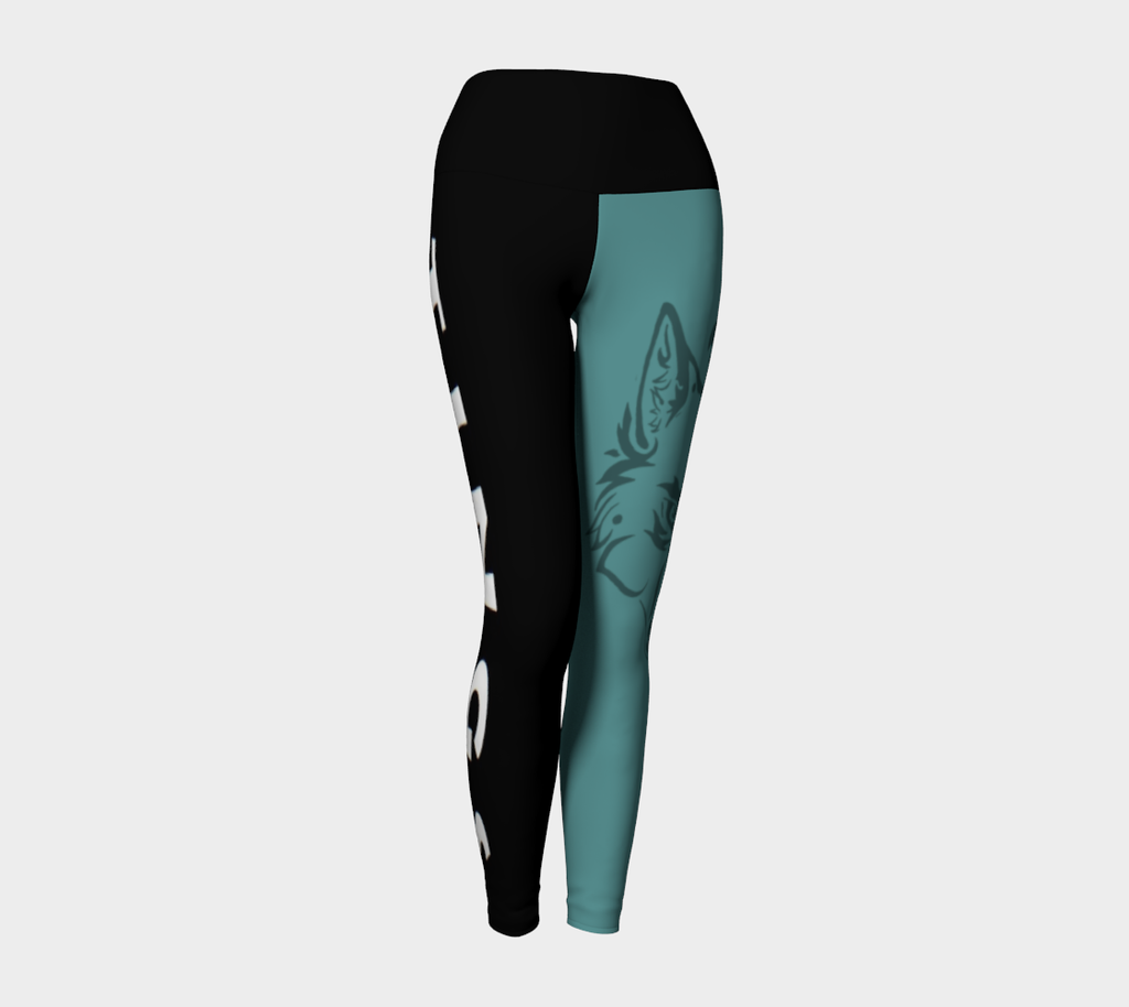 Yoga Leggings XS-XL Green & Black Tribal Wolf Design by TINGS