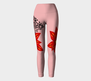 Compression Yoga Leggings XS-XL Pink Stinger Tribal Design by TINGS