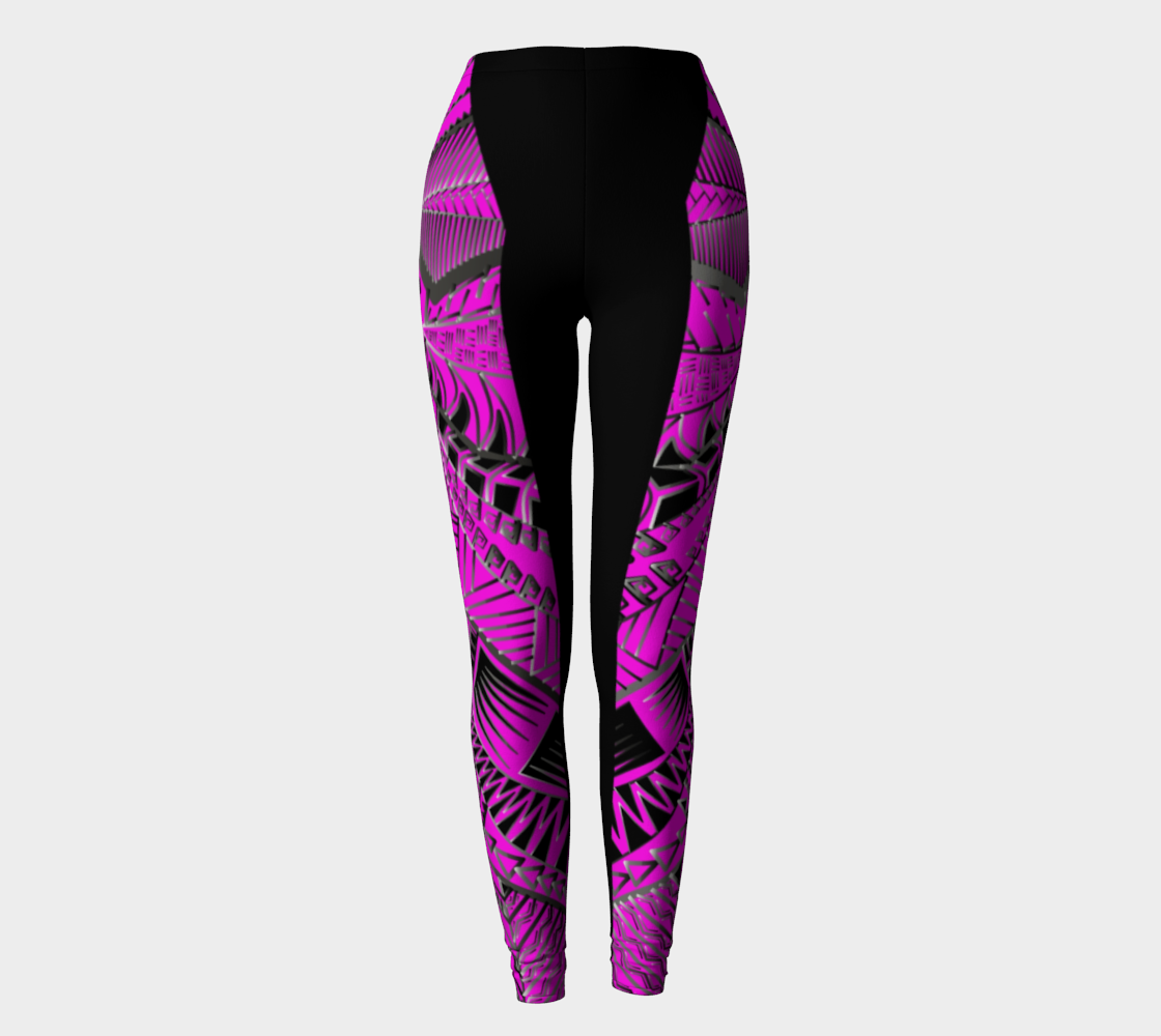 Woman XS-XL Hot Pink and Black Tribal Pink Designer Leggings by TINGS