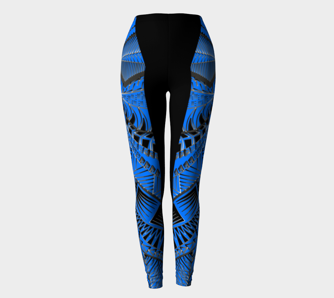 Compression Leggings XS-XL Blue Tribal Design by TINGS