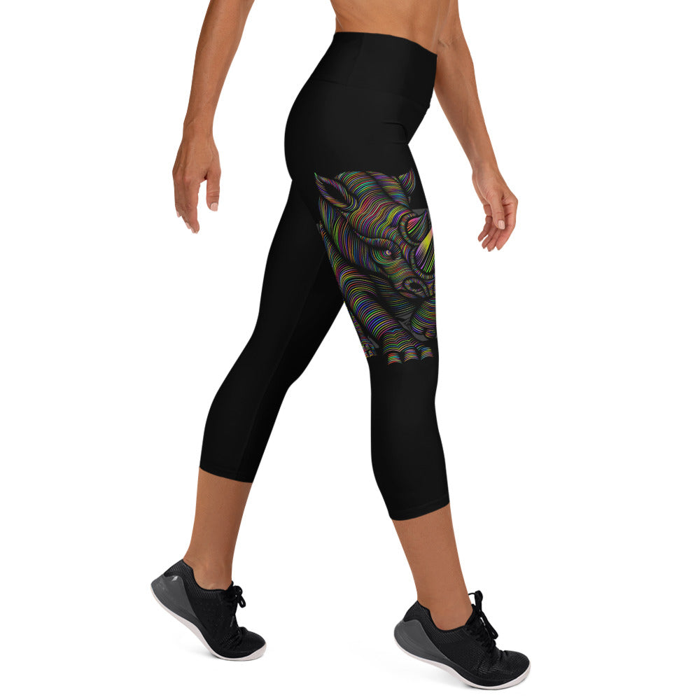 Yoga Capris XS-XL Black Mad Rhino Design by TINGS