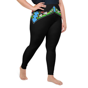 2XL-6XL Plus Size Black Heinie's Laughter Designer Yoga Leggings by TINGS