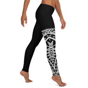 Compression Leggings XS-XL Black & White Tribal Warrior Design by TINGS