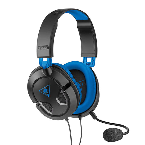 Turtle Beach - EAR FORCE Recon 60P Over-the-Ear Gaming Headset for PS4, Xbox One, PC and Mobile - Black/Blue