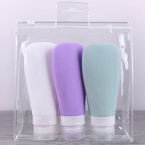 3 Pc  Silicone Refillable Bottles W Carrying Case - Pack For Paradise