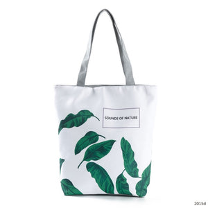 Green Leaf Printed Women Handbag Foldable & Reusable Beach Bag - Pack For Paradise