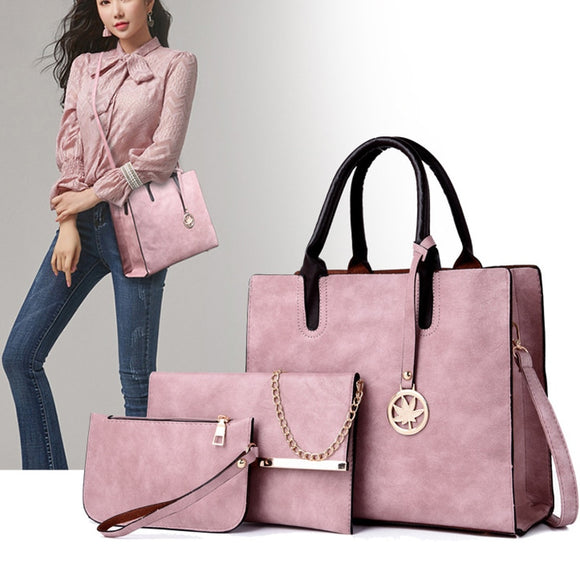 3 piece Leather Handbag - Pack For Paradise
