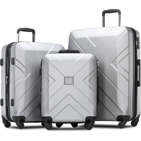 3 Piece Hardside Expandable Luggage Set with Spinner Wheels & TSA Lock - Pack For Paradise