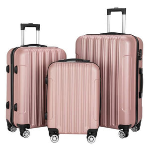 "3-in-1  Large Capacity Luggage Set Rose Gold 20""""24""28"" inch - Pack For Paradise"