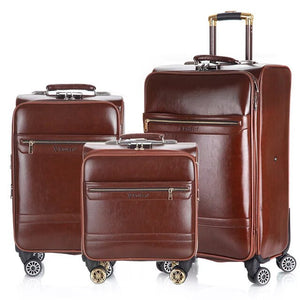 3 pc. 16/20/24 inch Business Luggage Set Leather - Pack For Paradise