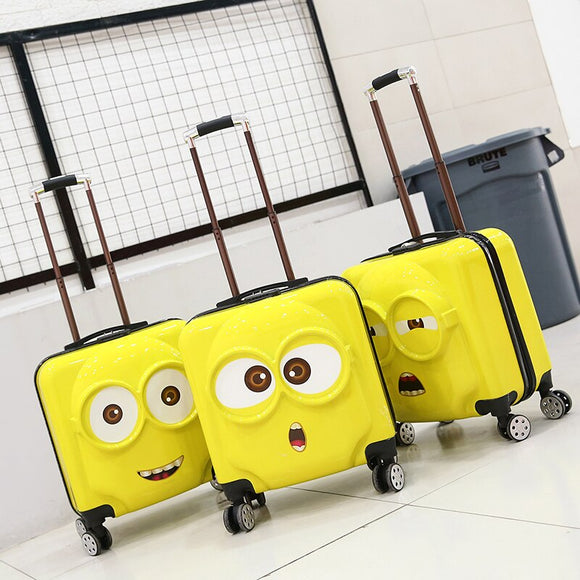 Children's Anime Travel Luggage 3D Stereo Trolley Case DIY Sticker Cartoon Children Suitcase 20 inch Lightweight Portable - Pack For Paradise
