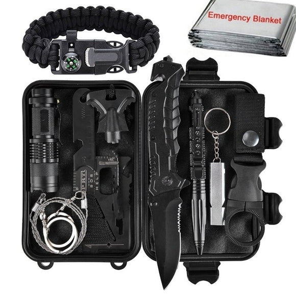 Outdoor Survival Kit Set,11 In 1 Camping Hiking Tactical Gear Emergency SOS - Pack For Paradise
