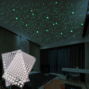 202 PCS/SET 3D Bubble Luminous Stars Dots Wall Sticker