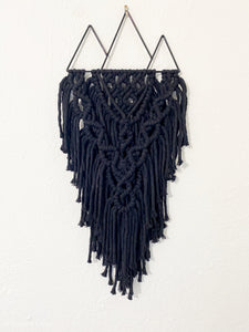 Black mountain macrame wall hanging