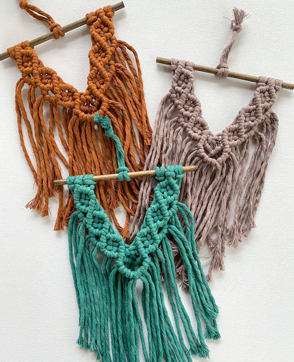 ash // mini macrame wall hanging