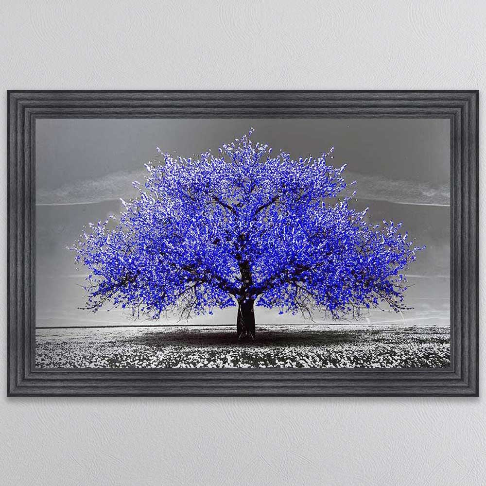 NAVY CHERRY TREE FRAMED WALL ART