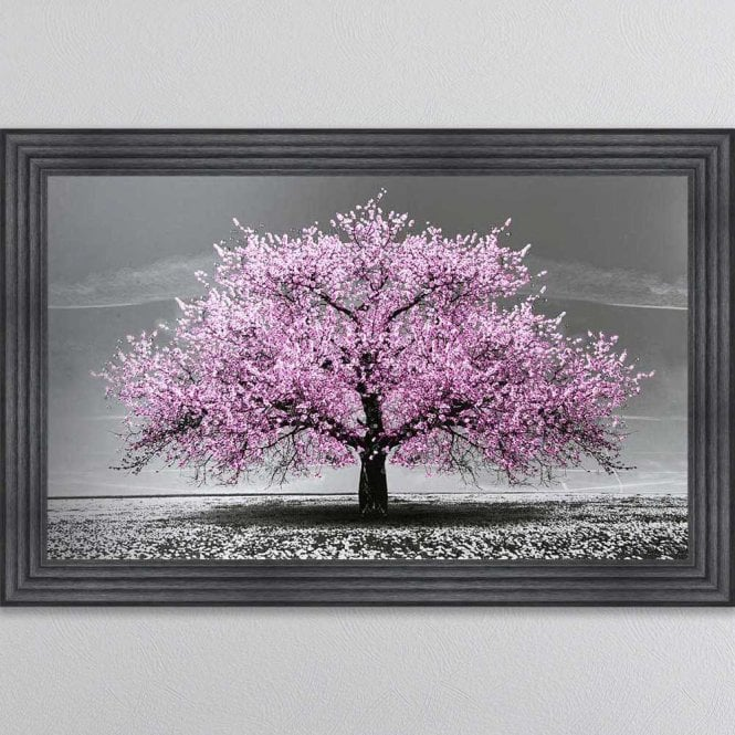 PINK CHERRY TREE FRAMED WALL ART