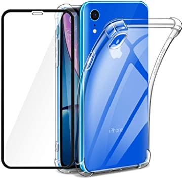IPhone XR (Pack 2 en 1) Coque Gel Souple incassable résistant Antichoc + 2  Films Protections écran en Verre trempé Transparent