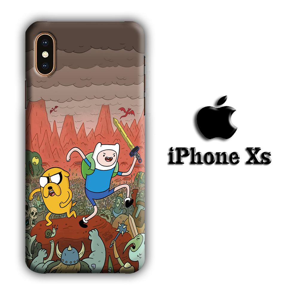 CN Adventure Time Mountain Battle iPhone Xs 3D coque custodia fundas