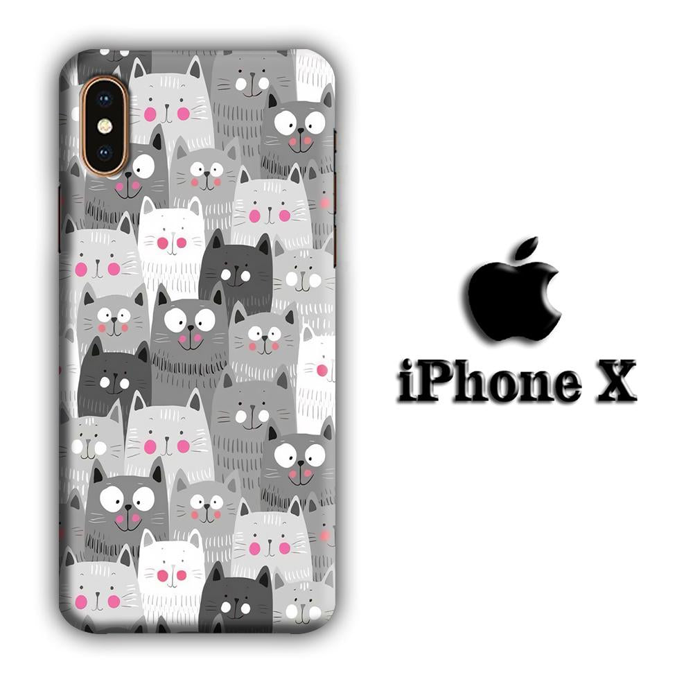 Cat Smily Collage iPhone X 3D coque custodia fundas