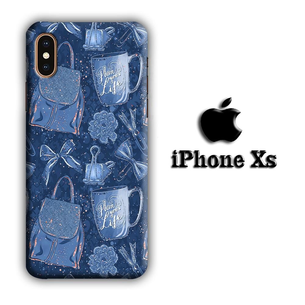 Collage Life Plan in Blue iPhone Xs 3D coque custodia fundas